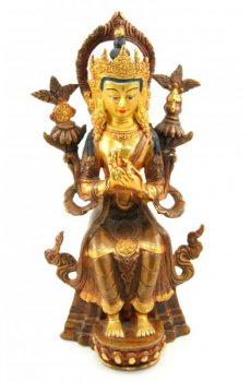 Maitreya Buddha Statue Copper Gilt 23cm