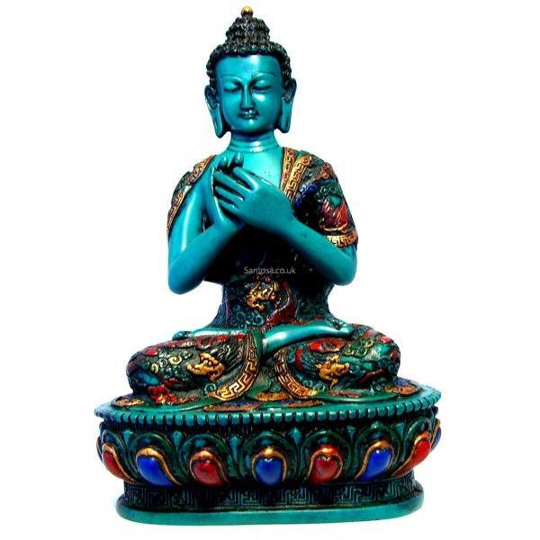 Vairochana Buddha Statue Resin Painted 28cm