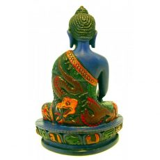 Amitabha Buddha Statue Turquoise Resin Painted 14cm