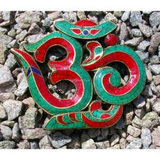 Sanskrit OM Symbol Wall Plaque with Inlaid Turquoise (Small 13cm)