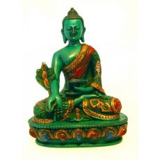 Medicine Buddha Statue Turquoise Resin Painted 14cm