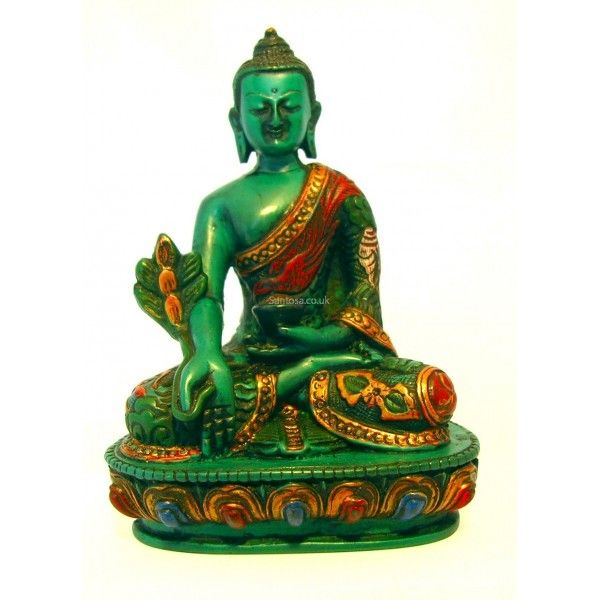 Medicine Buddha Statue Turquoise Resin Painted 14cm