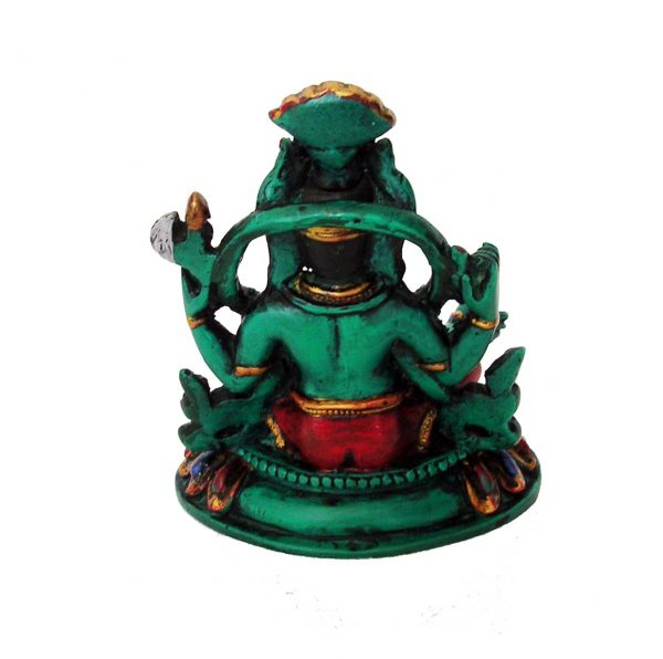 Ganesh Statue Resin Green Painted 13cm