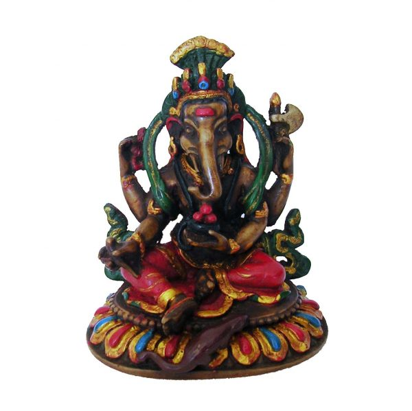 Ganesh Statue Resin White Painted 13cm
