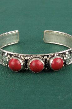 Tibetan Bracelet with Coral Stones