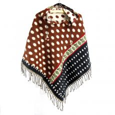 Dotty Over You Poncho in Brown-Black