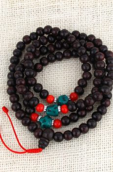 Rosewood with Turquoise Mala Beads