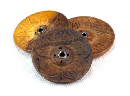 Wooden Incense Burner - Lotus Flower