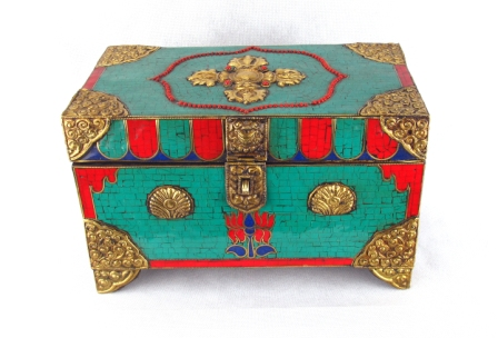 Tibetan Chest Turquoise and Brass
