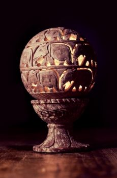 Dalit Soapstone Light Sphere on a Stand (Large)