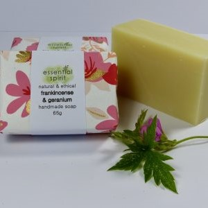 Essential Spirit Frankincense and Geranium Handmade Soap 65g