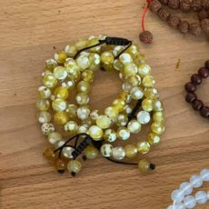 Yellow + White Fire Agate 21 Bead Bracelet